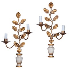 Pair of Early 20th Century Painted and Parcel Gilded Foliate Wall Lights