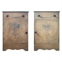 Pair of Early 20th Century Painted Bedside Cabinets with One Door, One Drawer