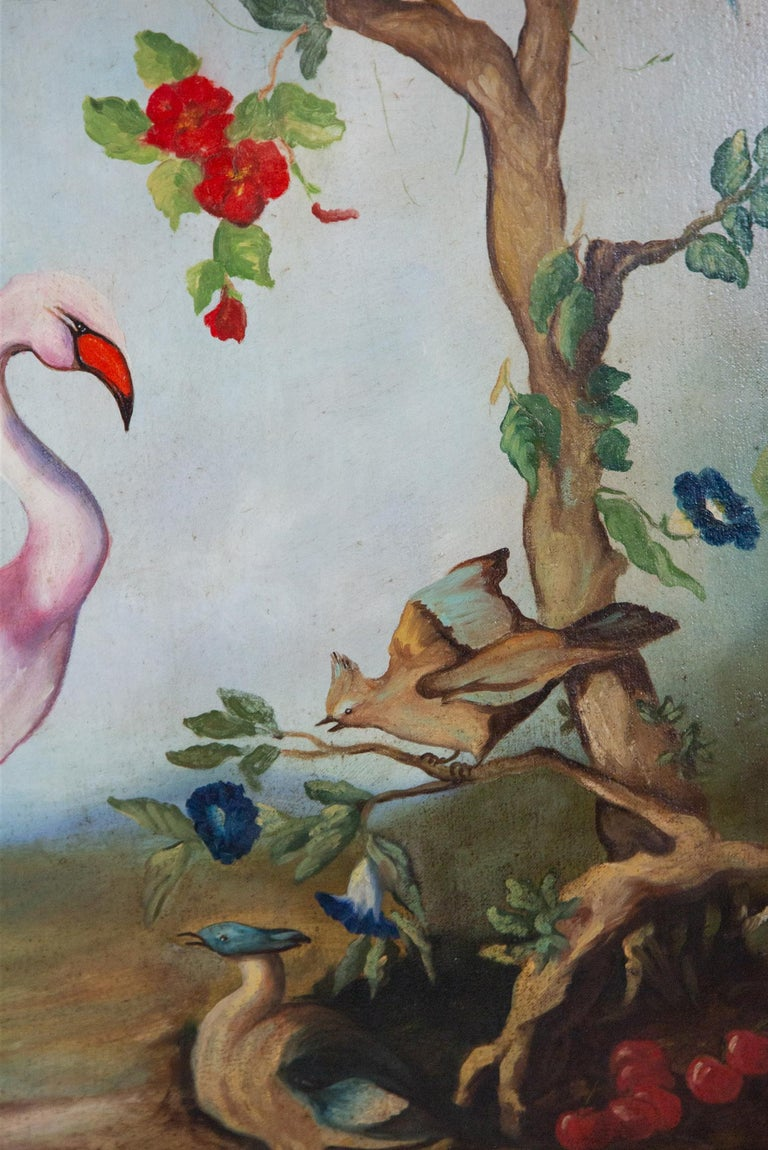 Pair of Early 20th Century Painted Birds and Fruits on Canvas For Sale 7