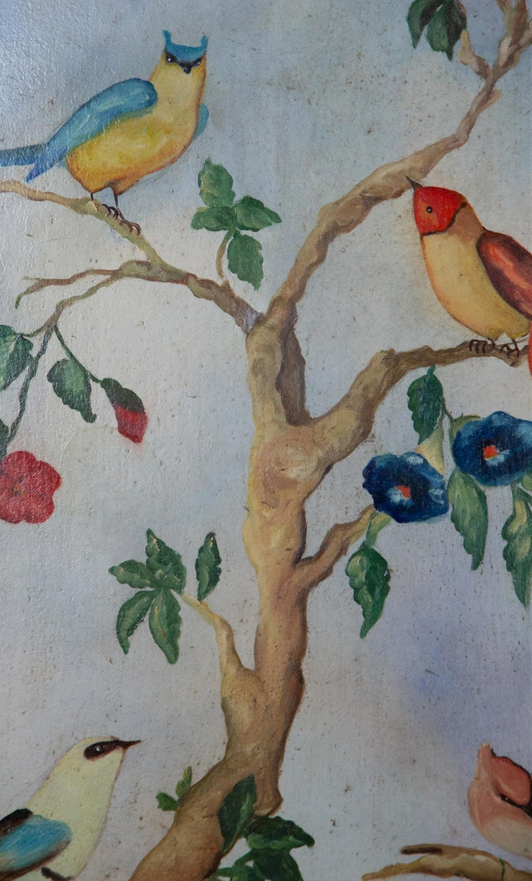 Pair of Early 20th Century Painted Birds and Fruits on Canvas For Sale 8
