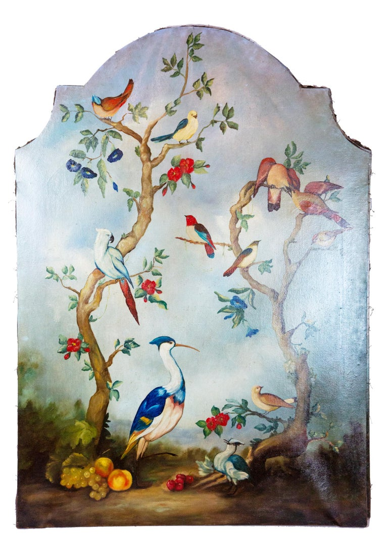 Pair of early 20th century painted birds and fruits on canvas. Two large paintings with colorful tropical birds sitting on trees with fruit beneath. Painted on stretched canvas. Measures: 50