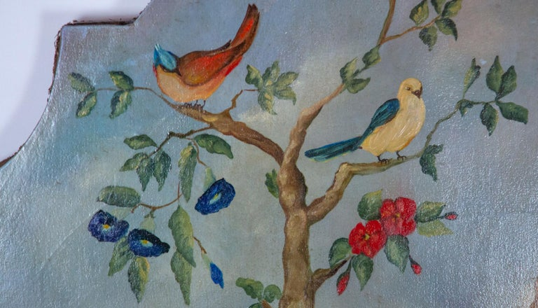 Pair of Early 20th Century Painted Birds and Fruits on Canvas For Sale 3