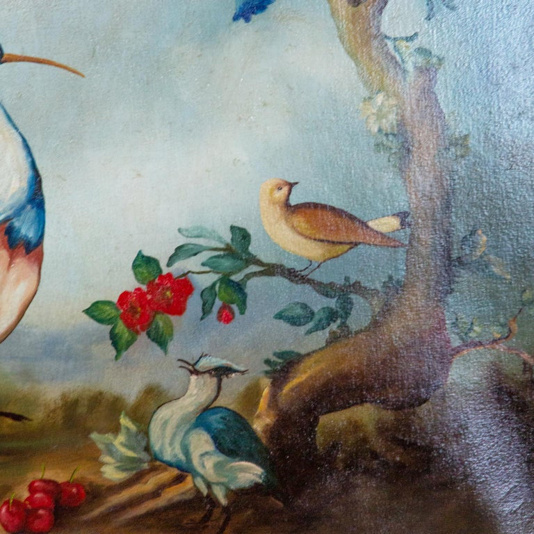 Pair of Early 20th Century Painted Birds and Fruits on Canvas For Sale 4