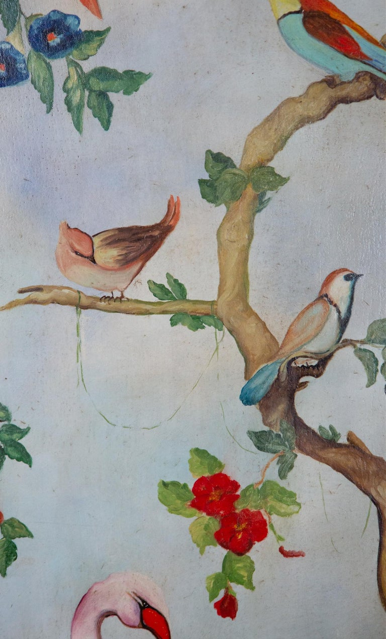 Pair of Early 20th Century Painted Birds and Fruits on Canvas For Sale 6