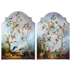 Pair of Early 20th Century Painted Birds and Fruits on Canvas