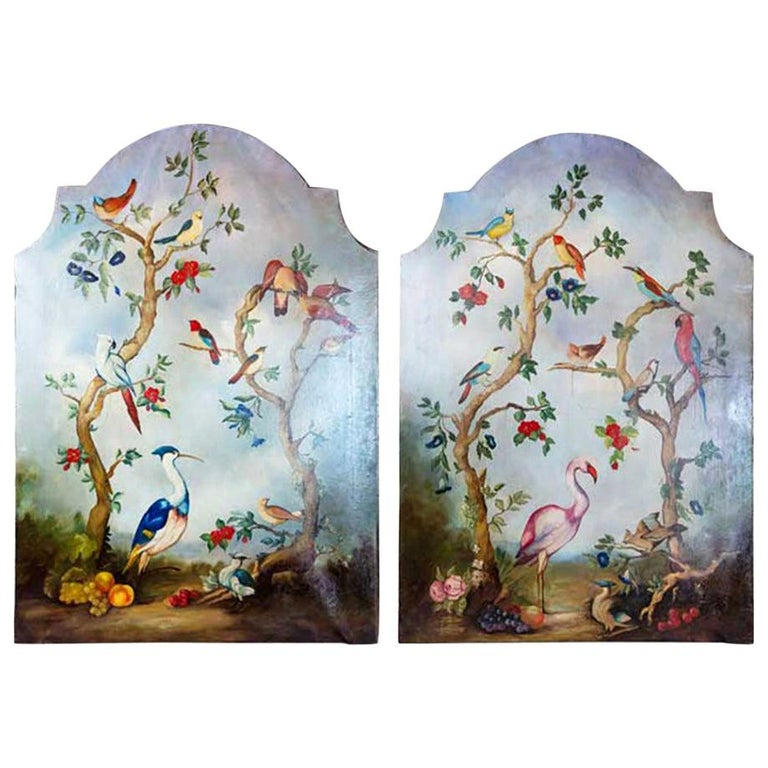 Pair of Early 20th Century Painted Birds and Fruits on Canvas For Sale