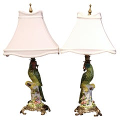 Pair of Early 20th Century Painted Porcelain Parrot Table Lamps on Bronze Bases
