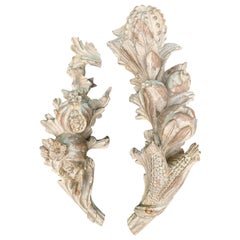 Pair of Early 20th Century Palladio Italian Hand Carved Wall Appliques, Stamped