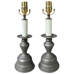 Pair of Early 20th Century Pewter Candlesticks as Lamps