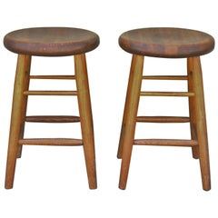Pair of Early 20th Century Plank Seat Bar Stools