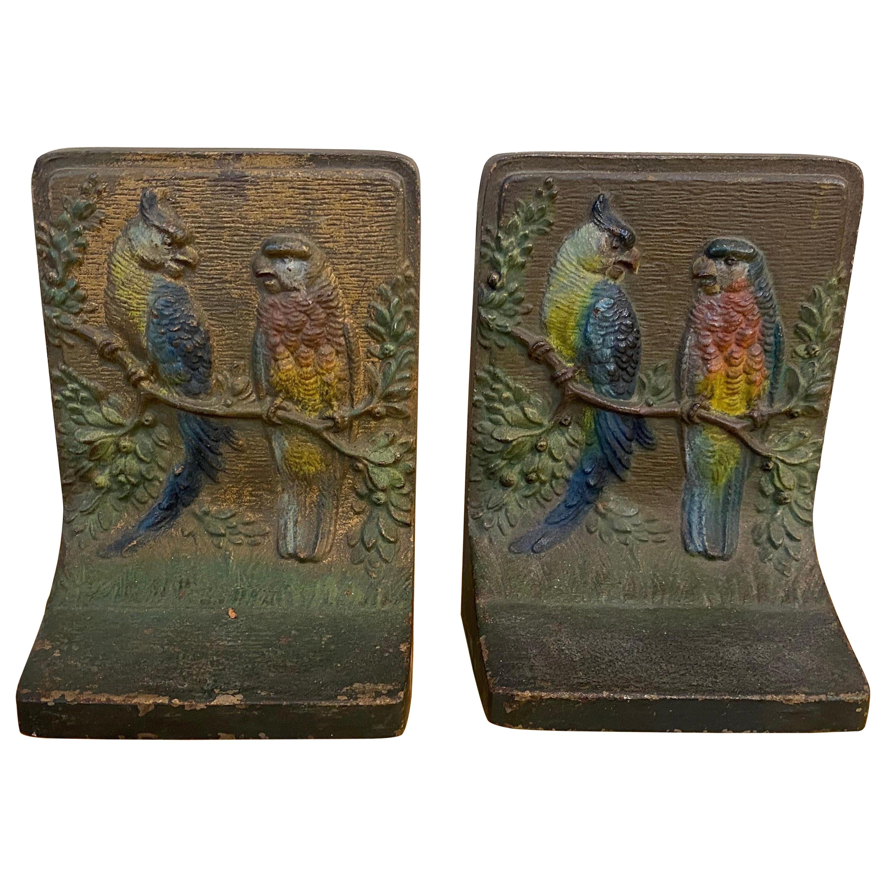 Pair of early 20th Century Polychrome Bookends of Parrots by Bradley and Hubbard