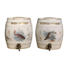 Pair of Early 20th Century Pottery Whisky Barrels with Original Lids and Taps