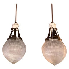 Pair of Early 20th Century Prismatic Holophane Acorn Pendant Lights