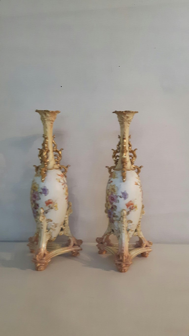 Glazed Pair of Early 20th Century Rudolfstadt Vases For Sale