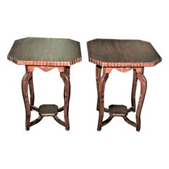 Pair of Early 20th Century Solid Nedun Wood Side Tables from Sri Lanka