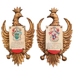 Pair of Early 20th Century Spanish Carved Giltwood and Polychrome Wall Shields