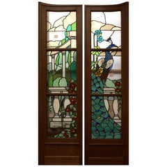 Pair of Early 20th Century Stained Glass Doors