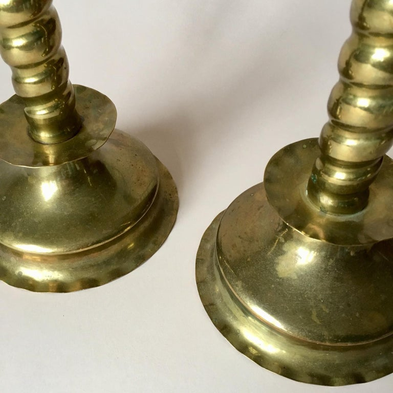 Pair of Early 20th Century Swedish Baroque Style Brass Candleholders For Sale 1
