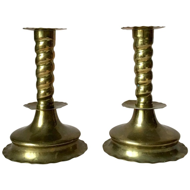 Pair of Early 20th Century Swedish Baroque Style Brass Candleholders For Sale