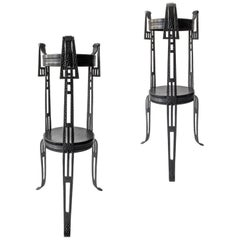Pair of Early 20th Century Swedish Wrought Iron Pedestals / Plant Stands