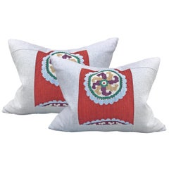Pair of Early 20th Century Uzbek Embroidered Pillows