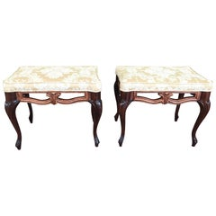 Pair of Early 20th Century Vintage Ottoman/Stools, Carved Wood/ Cream Floral