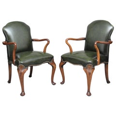 Pair of Early 20th Century Walnut Armchairs