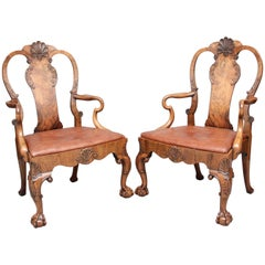 Pair of Early 20th Century Walnut Open Armchairs