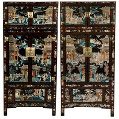 Pair of Early 20th Chinese Ming Style Painted Cabinets