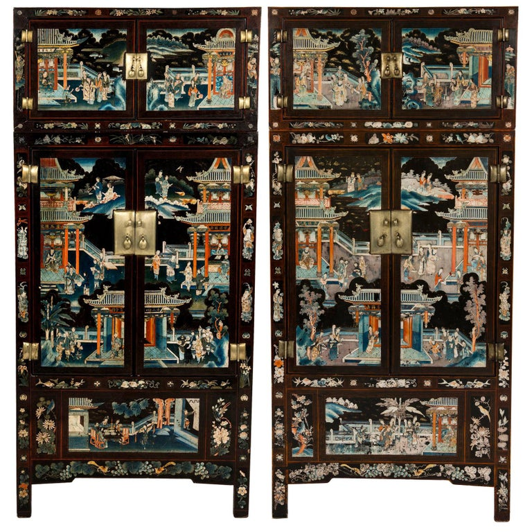 Pair of Early 20th Chinese Ming Style Painted Cabinets For Sale