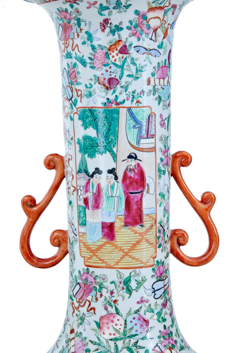 Pair of Early 20th Large Chinese Cantonese Vase Lamps In Good Condition For Sale In Debenham, Suffolk