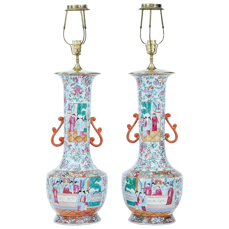 Pair of Early 20th Large Chinese Cantonese Vase Lamps For Sale