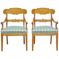 Pair of Early 20th Swedish Carved Birch Armchairs