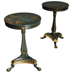 Pair of Early 20thc Blue/Green Lacquered Occasional Tables in the Regency Style