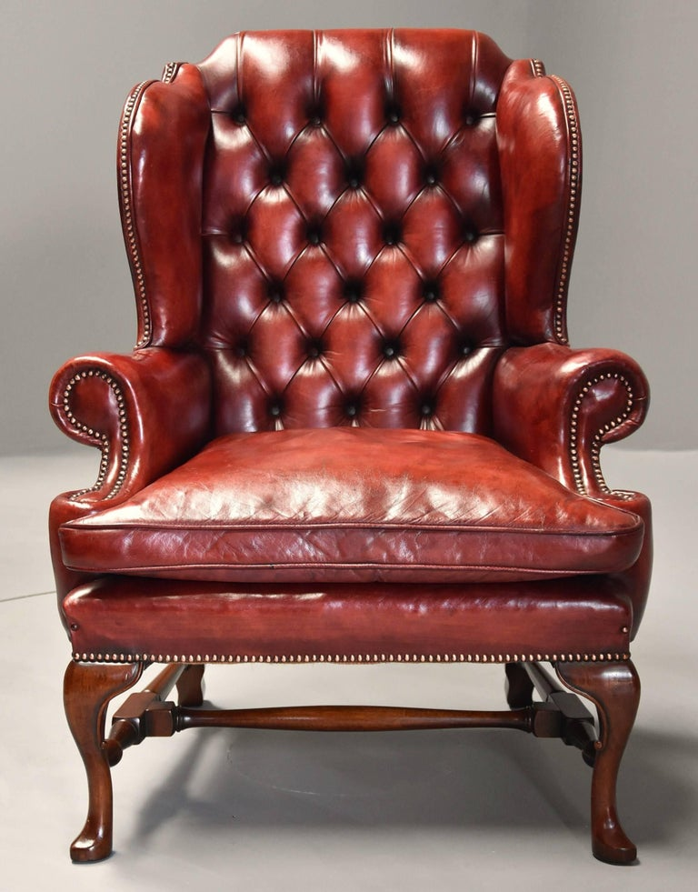 Pair of Early 20th Century Georgian Style Red Leather Wing ...