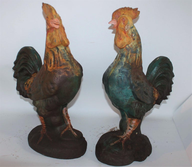 Country Pair of Early 20th Century Iron Roosters in Original Paint For Sale