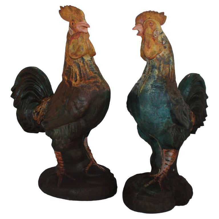 Pair of Early 20th Century Iron Roosters in Original Paint For Sale