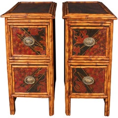 Pair of Early Art Deco Hand-Painted Bamboo and Cane Nightstands