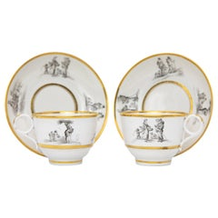 Pair of Early Barr Flight Barr Porcelain Teacups and Saucers