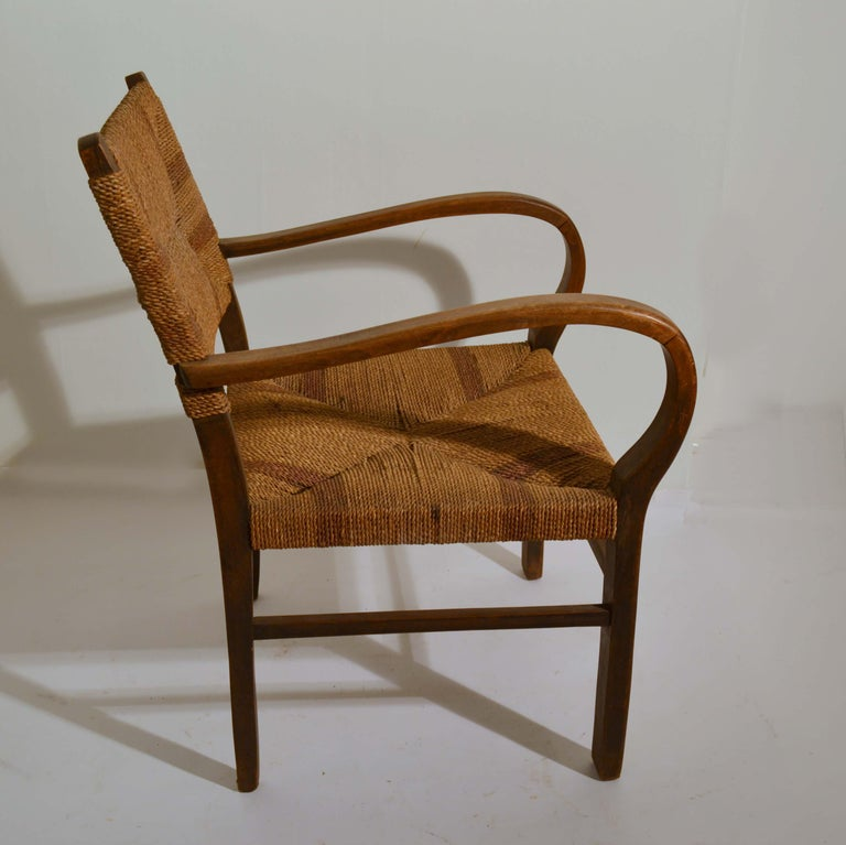 Pair of Early Bauhaus Armchairs Wood and Rope by Erich Dieckmann For Sale 4