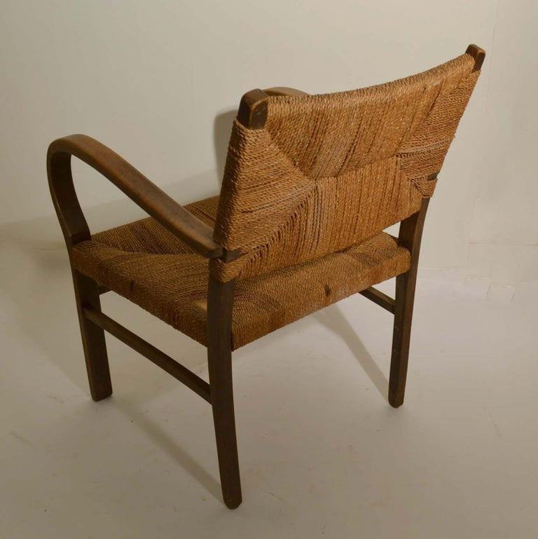 Pair of Early Bauhaus Armchairs Wood and Rope by Erich Dieckmann For Sale 5