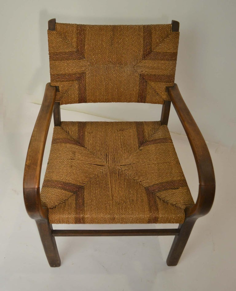 German Pair of Early Bauhaus Armchairs Wood and Rope by Erich Dieckmann For Sale