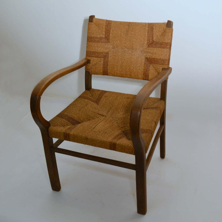 Pair of Early Bauhaus Armchairs Wood and Rope by Erich Dieckmann In Good Condition For Sale In London, GB