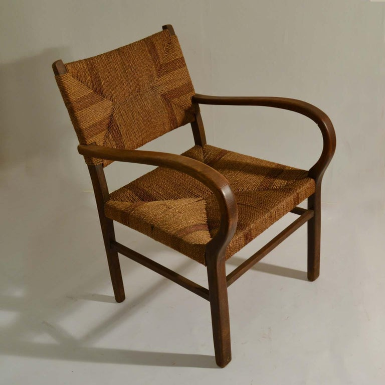 Early 20th Century Pair of Early Bauhaus Armchairs Wood and Rope by Erich Dieckmann For Sale