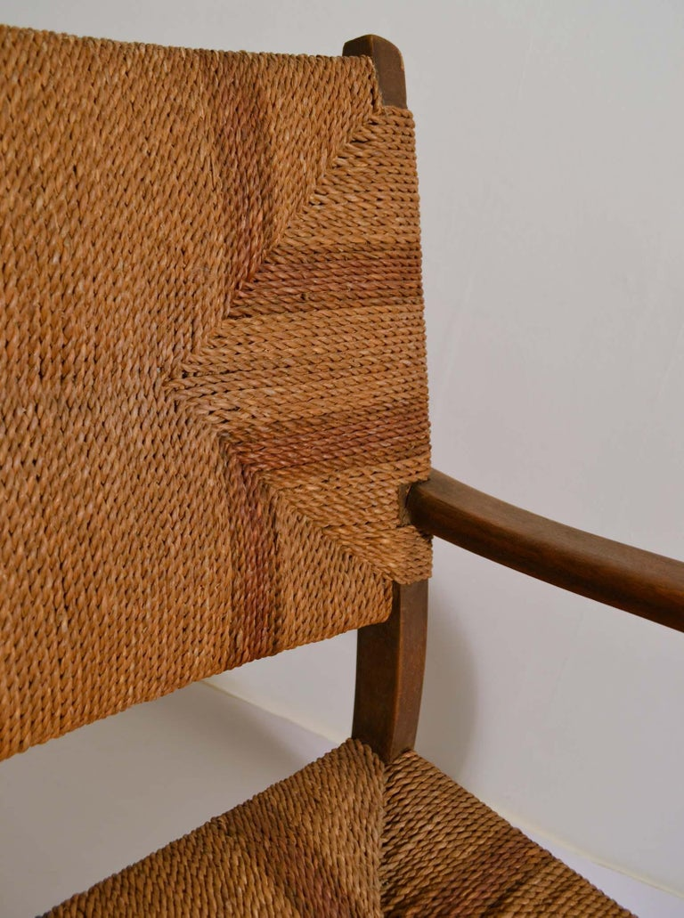 Seagrass Pair of Early Bauhaus Armchairs Wood and Rope by Erich Dieckmann For Sale