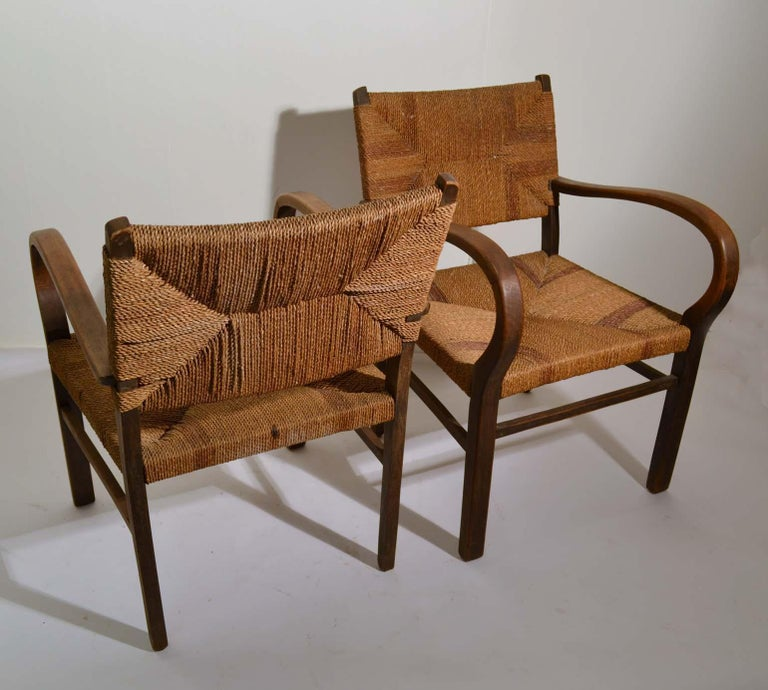Pair of Early Bauhaus Armchairs Wood and Rope by Erich Dieckmann For Sale 1