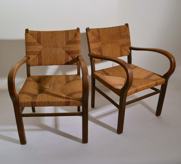 Pair of Early Bauhaus Armchairs Wood and Rope by Erich Dieckmann For Sale 2