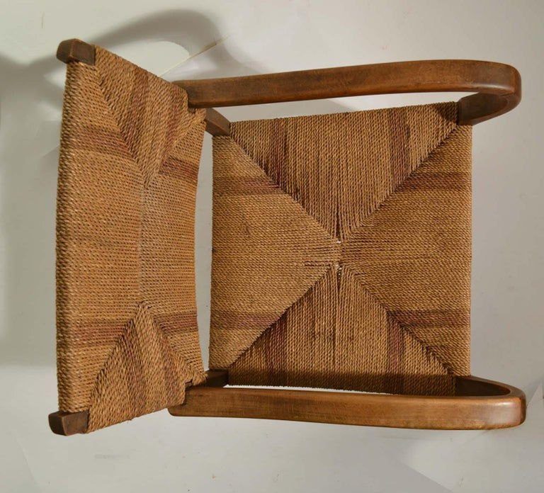 Pair of Early Bauhaus Armchairs Wood and Rope by Erich Dieckmann For Sale 3