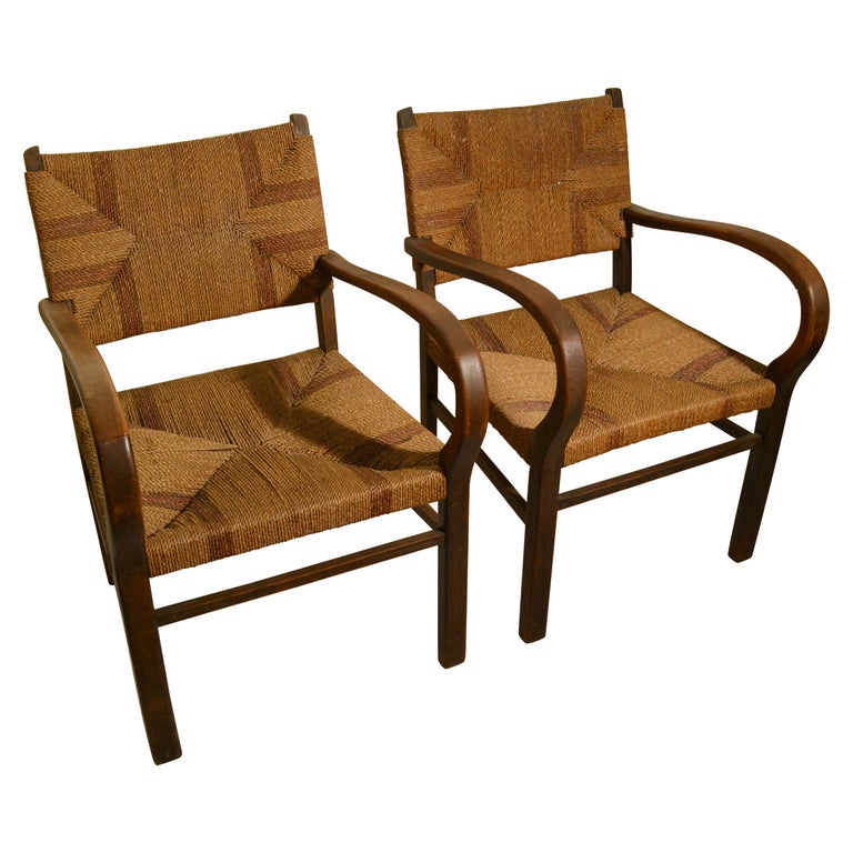 Pair of Early Bauhaus Armchairs Wood and Rope by Erich Dieckmann For Sale