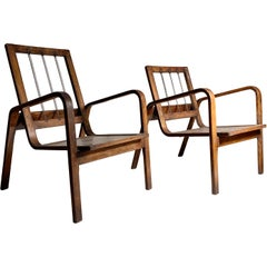 Pair of Early Bentwood Danish or German Bauhaus Lounge Chairs